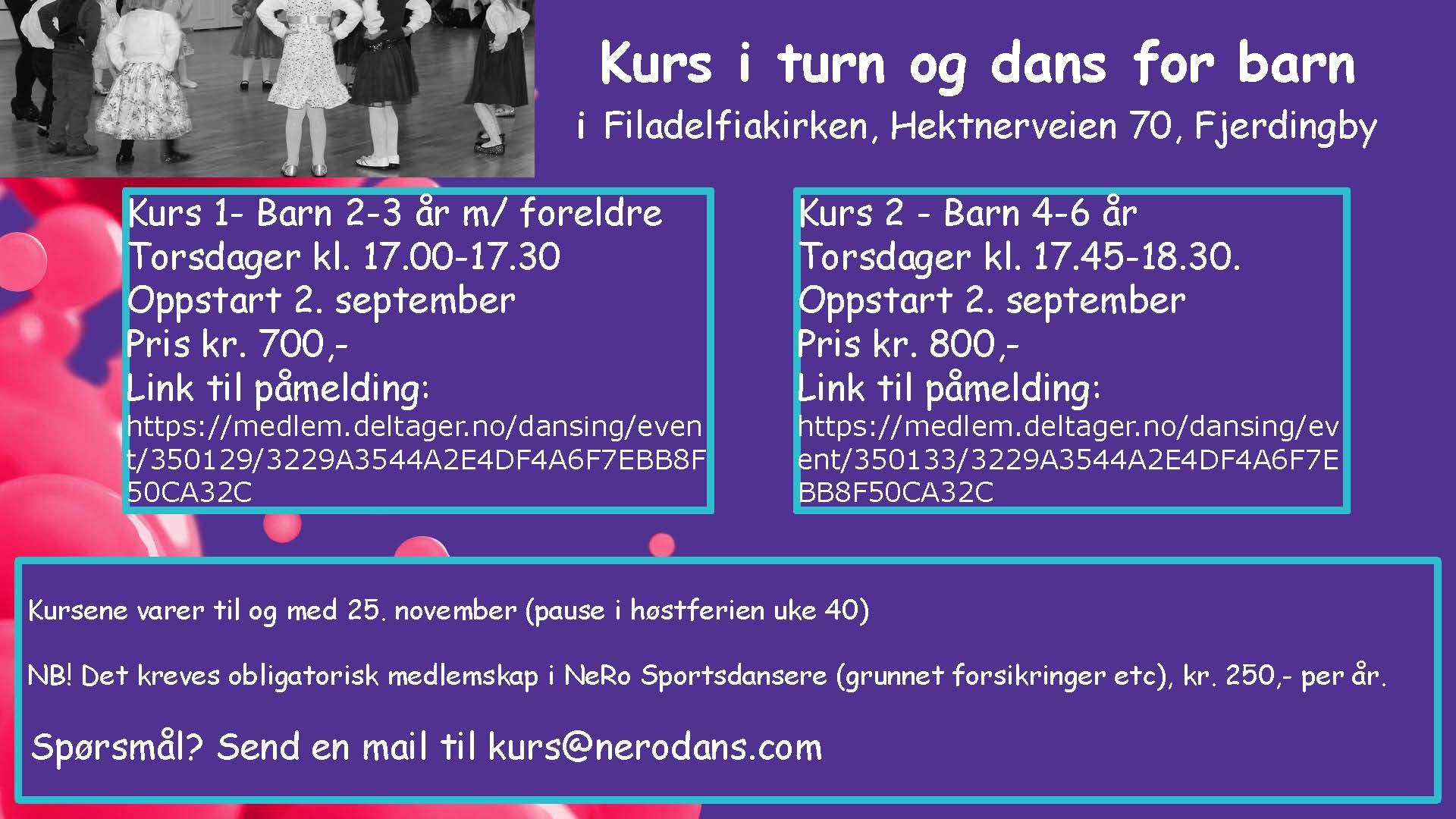 Invitasjon til barnekurs Fjerdingby høst 2021