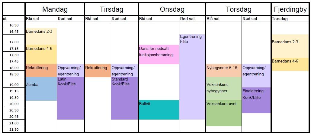timeplan høst 2021